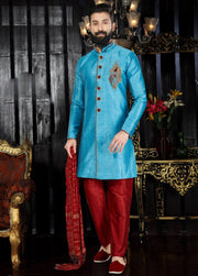 Sky Blue Hand Embroidered Kurta Pajama
