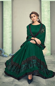 dark green lycra saree