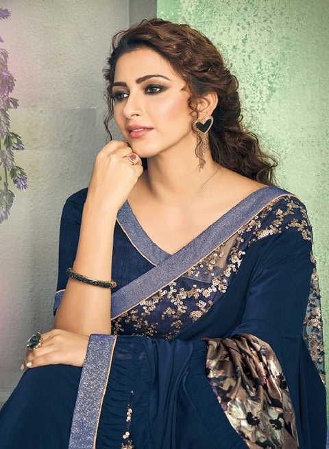 dark blue lycra saree