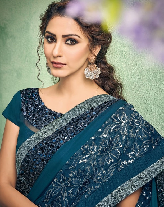 teal blue lycra saree
