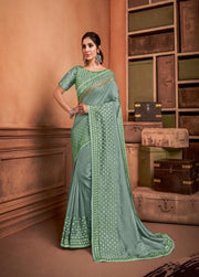 Sea Green Tussar Silk Saree