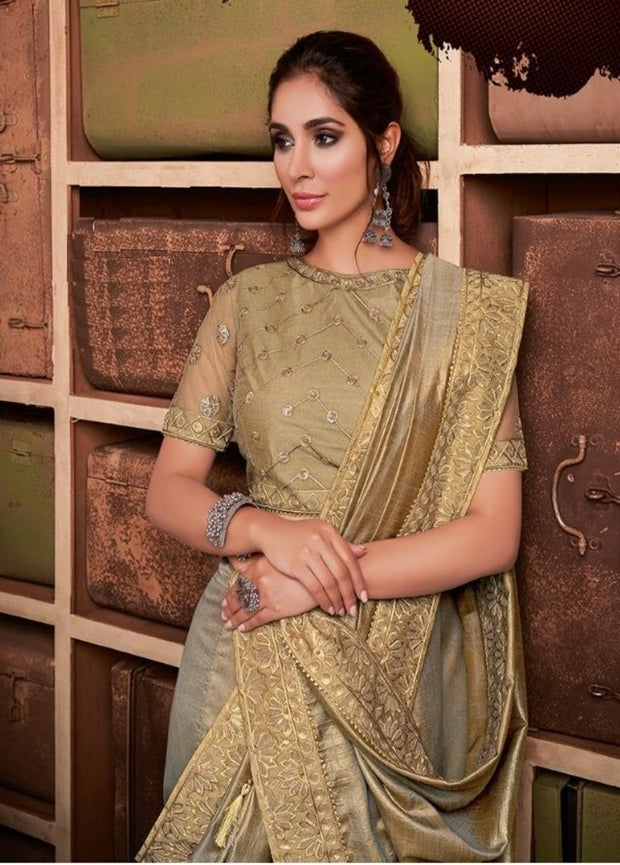 Beige Gold Tussar Silk Saree