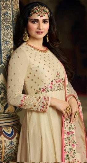 Cream partywear anarkali suit