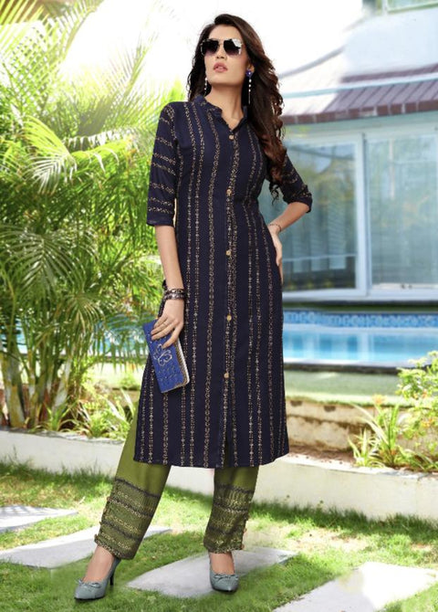 navy blue and mehendi khoyal printed kurti palazzo suit