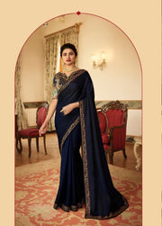 dark blue georgette saree