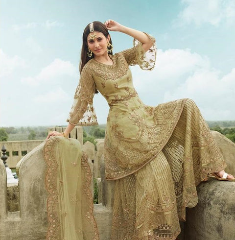 Light Green And Gold Designer Palazzo Suit