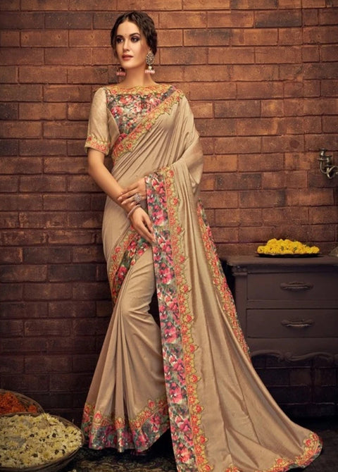 Peach and Multi Color Silk Saree