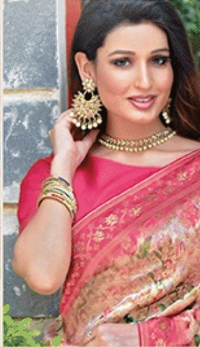 Pink designer party wear saree