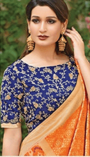 Orange designer party wear saree