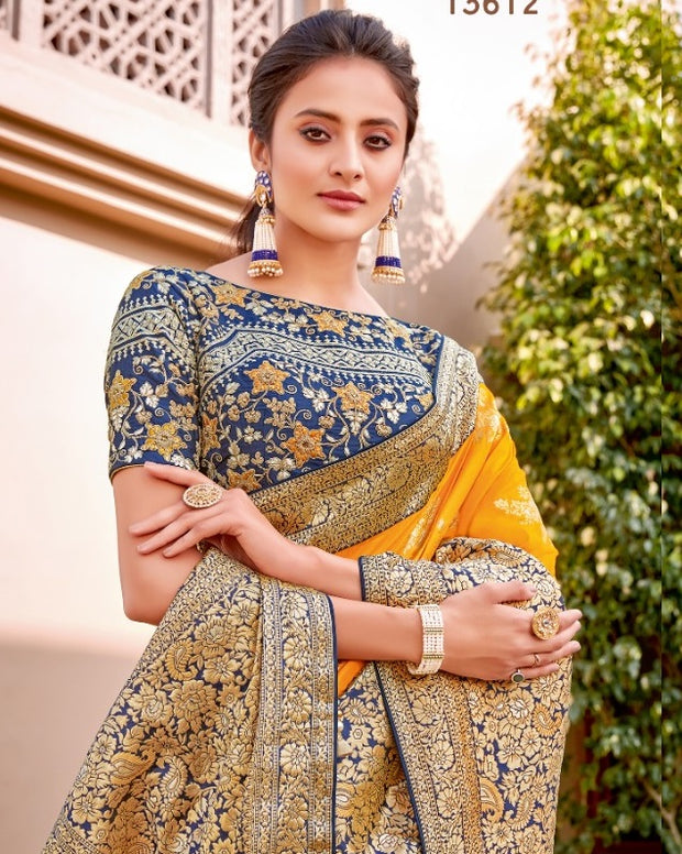 Yellow weaved silk saree