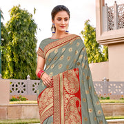 Gray weaved silk saree
