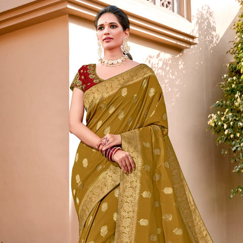Mustard weaved silk saree