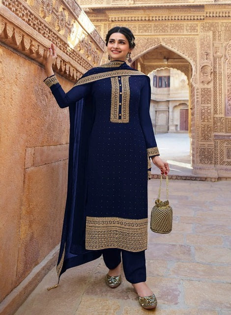 Black georgette Partywear Straight pant suit