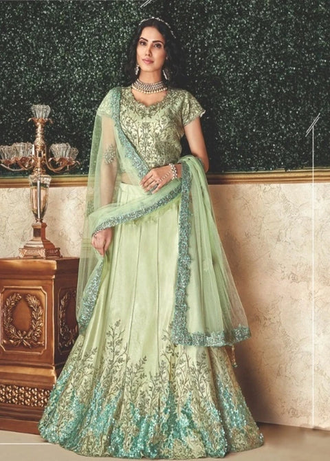 Pastel Green Cord and sequins embroidery