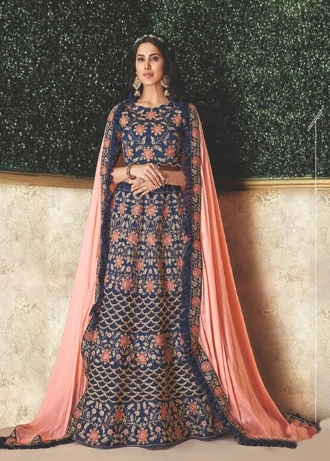 Blue Cord and Sequins Embroidery Lehenga