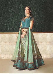 Blue Zari Embroidered Jacquard Lehenga