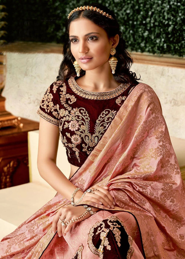 Peach and Maroon Zari Vevet Lehenga