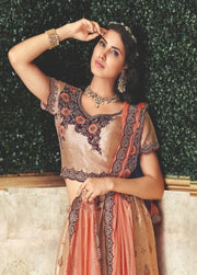 Peach and Beige Cord Embroidered Silk Lehenga
