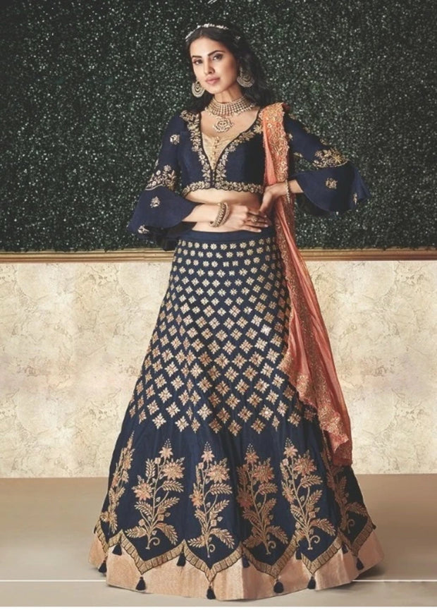 Blue and Peach Zari Sequins Embroidered Lehenga