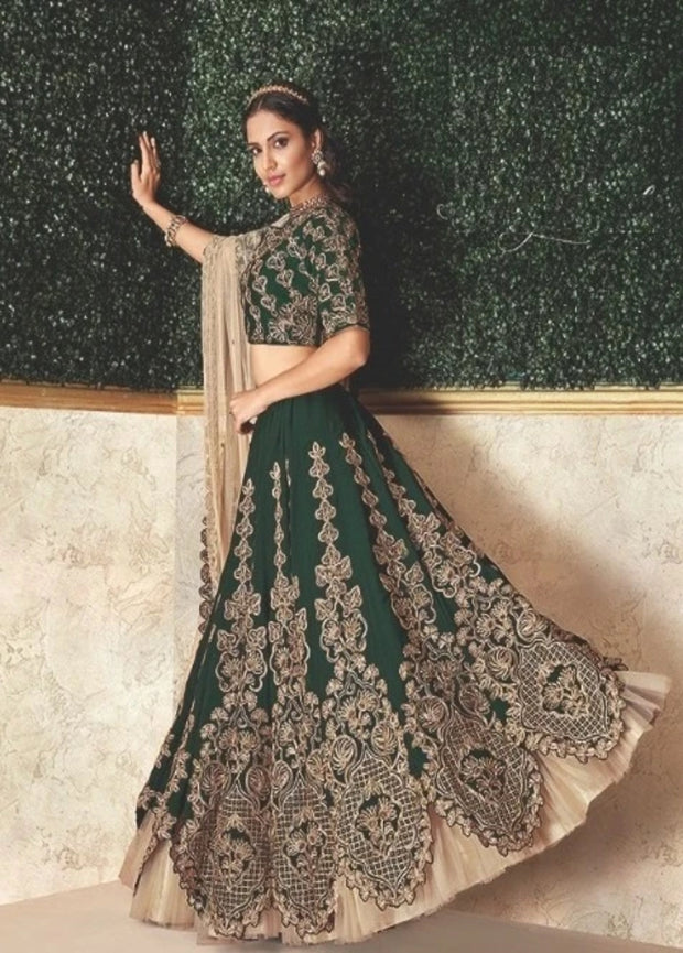 Beige and Green Zari Satin Silk Ribbon Embroidered Lehenga