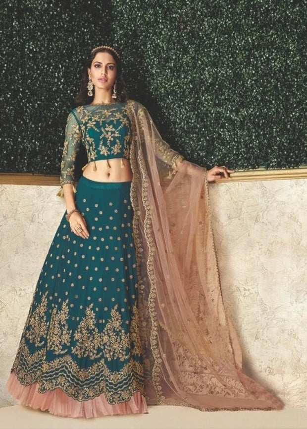 Teal Blue and Peach Zari Satin Silk Cord Embroidered Lehenga