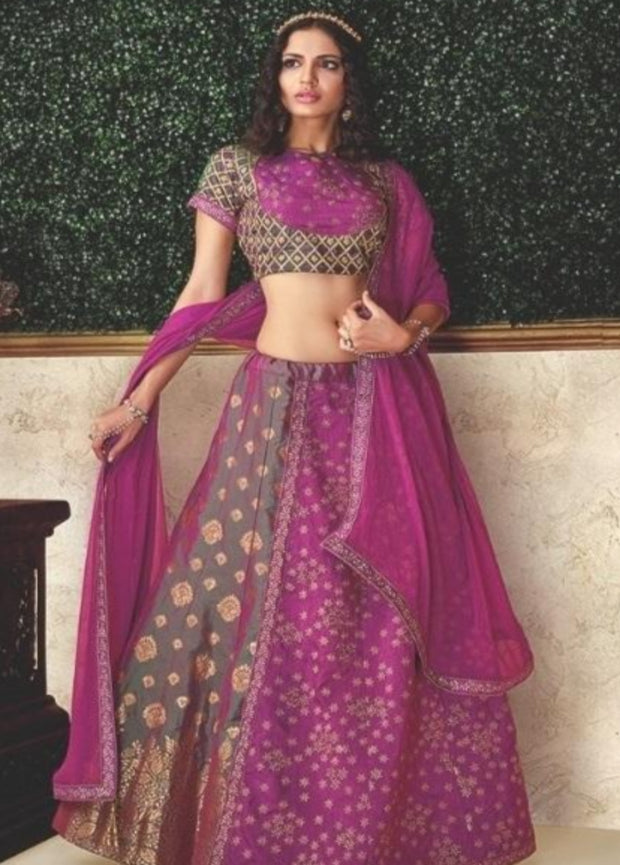 Magenta brocade embroidered layered designer lehenga choli