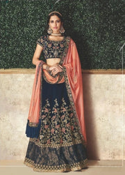 Blue and Peach Sequinned Embroidery Velvet Lehenga