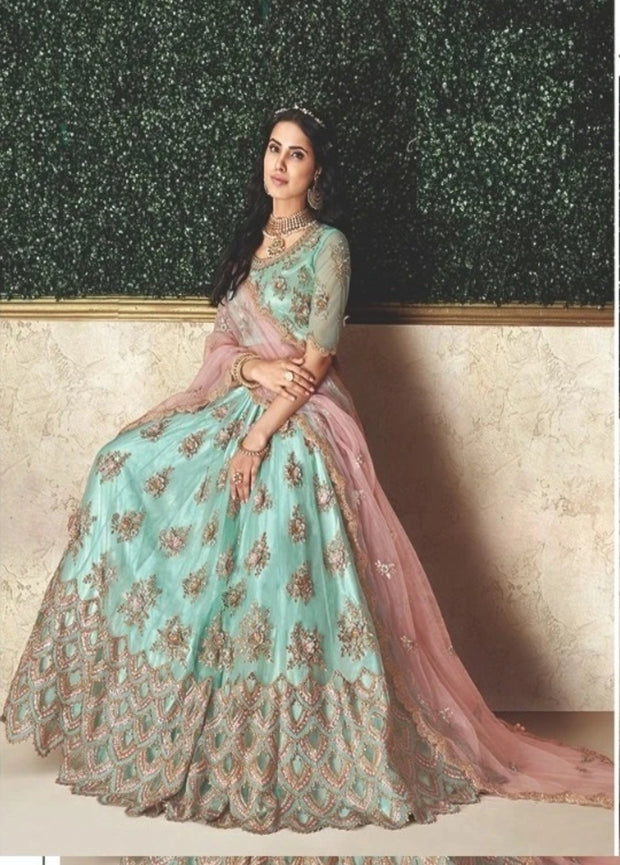 Sky Blue and Pink Zari Embroidered Silk Lehenga