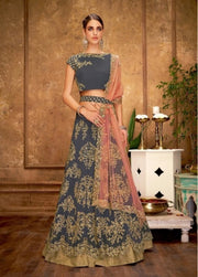 Gray And Pink Lehenga Cord, sequins, zari embroidery