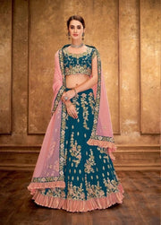 Teal Blue and Pink Sequined Silk Lehenga
