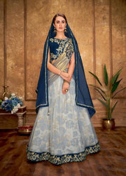Gray and Blue Cord and sequins embroidery Lehenga