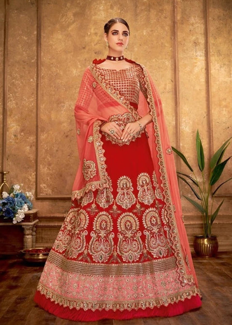Red Zari, cord and sequins embroidery Lehenga
