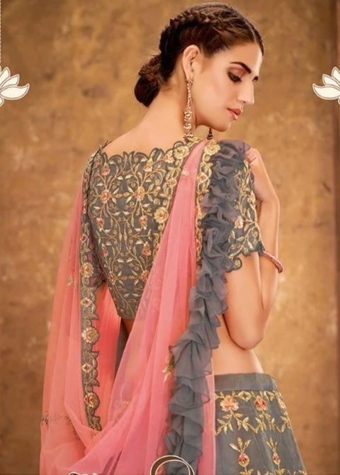 Gray and Pink  cord embroidery lehenga