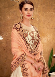 Cream and Peach Lehenga Choli Cord Embroidery Handwork