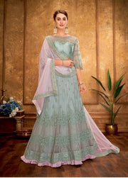 PASTEL BLUE AND PINK CORD AND ZARI EMBROIDERY