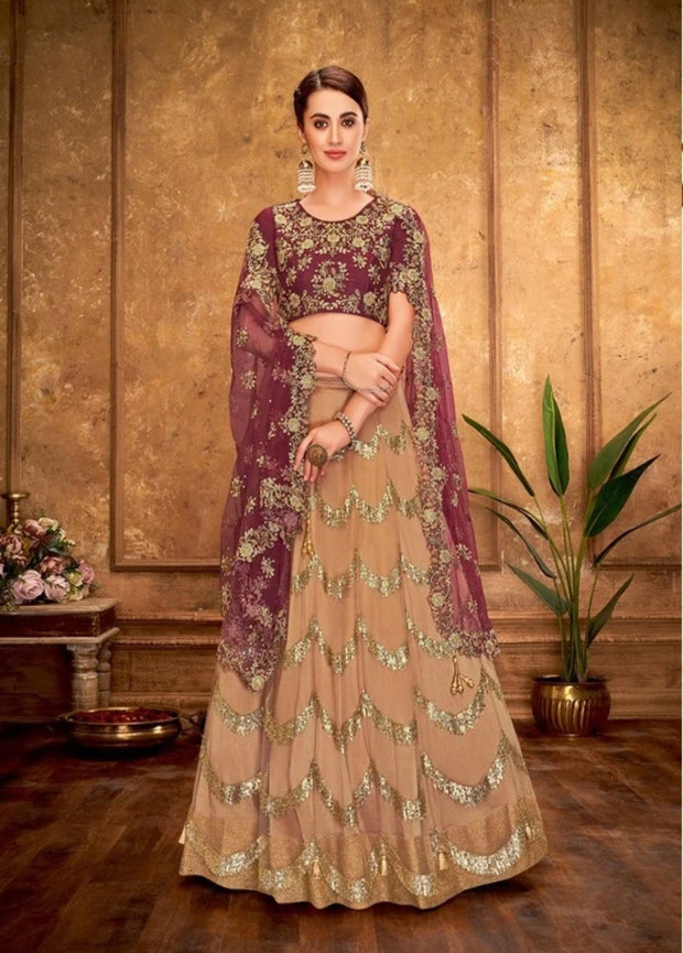 BEIGE AND MAROON SEQUINS EMBROIDERY LEHENGA