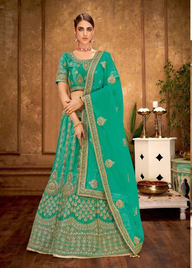 Sea Blue Zari and Cord Embroidery Lehenga