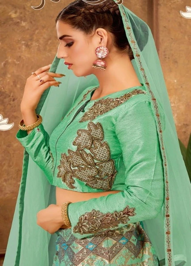 Green Zari and Cord embroidery Lehenga