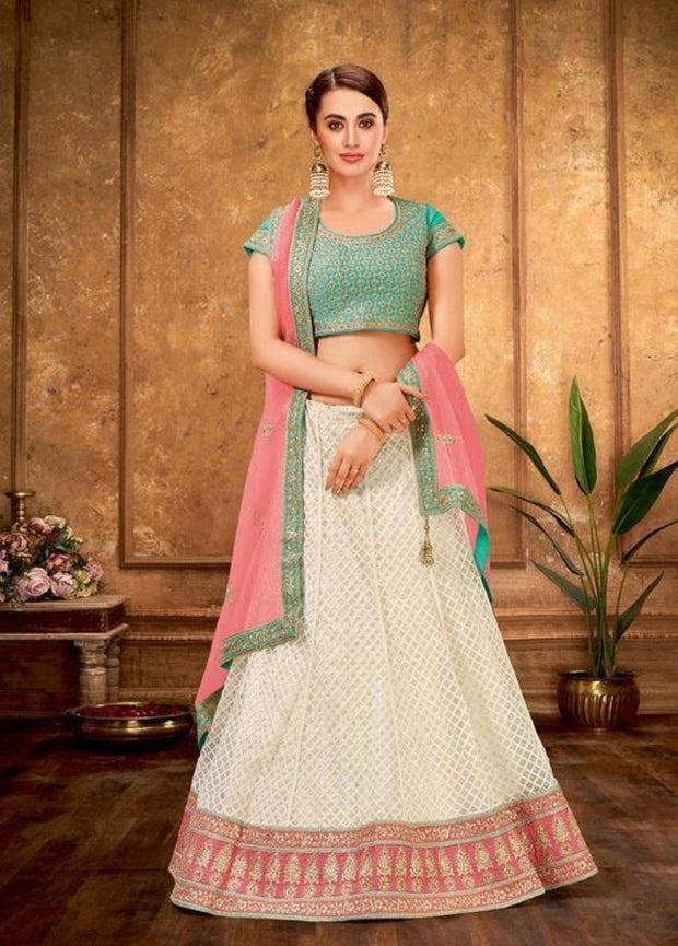 Cream and Pink silk Lehenga choli