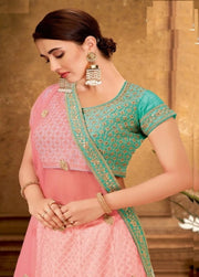 CREAM AND PINK ZARI AND CORD EMBROIDERY LEHENGA
