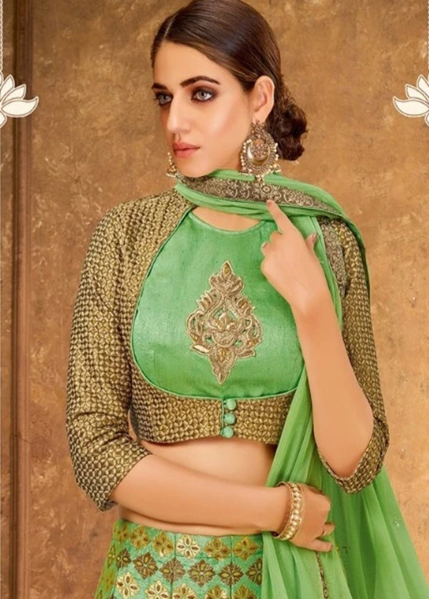 GREEN CORD, ZARI AND SEQUINS EMBROIDERY LEHENGA