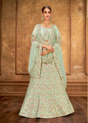 Pastel Green silk Lehenga choli