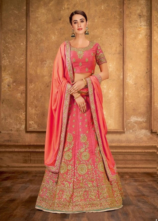 Pink  Zari and Cord Embroidery Lehenga