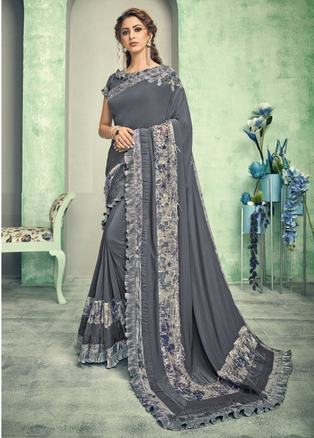 dark grey lycra saree