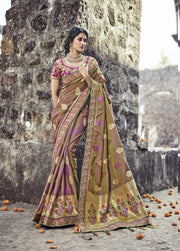 Brown and Purple pure banarasi silk saree