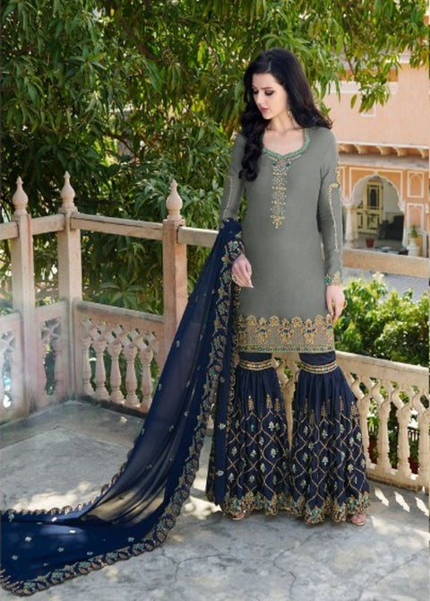 Grey And Navy Blue Partywear Gharara Suit