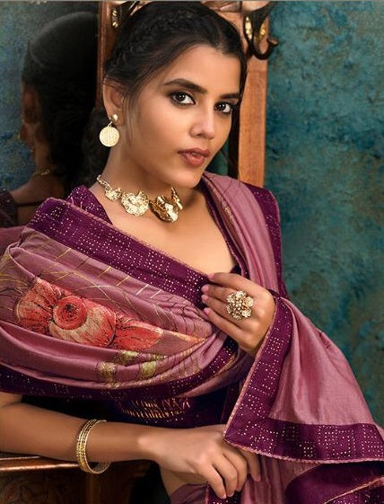 Onion Pink And Wine Silk Partywear Saree