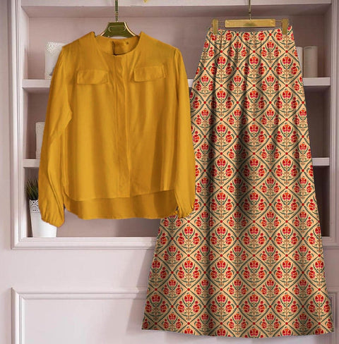 Yellow Rayon Floral Printed Skirt With Yellow Top