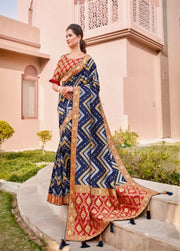 Blue weaved silk saree