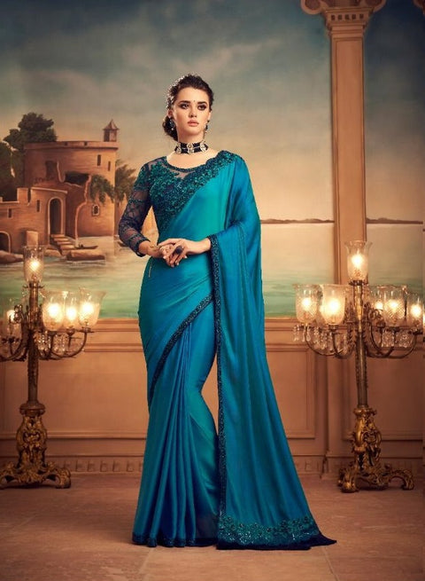 Blue partywear silk saree